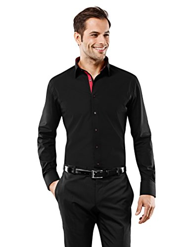 Vincenzo Boretti Men's Shirt Slim-Fit Fitted Classic Design Plain Solid Colour 100% Cotton Non-Iron Long-Sleeve Designer Shirts For Men Formal Office Wedding Ideal With Tie
