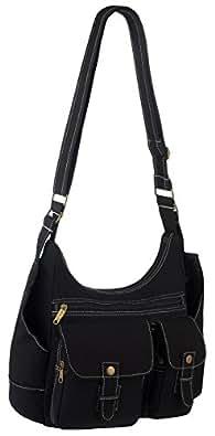 EyeCatchBags - Urban Cool Cross Body Courier Messenger Canvas Shoulder Bag (Black)