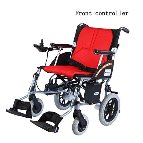 HEUFHU888 Elektrischer Transportrollstuhl Vierrädriger Rollstuhl Älterer Walker Faltbarer intelligenter Steuerungs- medizinischer tragbarer elektrischer Rollstuhl (Color : B-Red) -