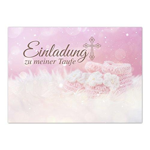 15 x Einladung zur Taufe/Einladungskarten mit Umschlag im Set/Einladung zu meiner Taufe Baby Rosa/Baby Taufkarte/Grußkarte/Postkarte/