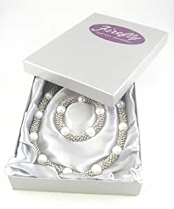 Firefly A hand made necklace and bracelet gift set, of pearl effect and metal beads, complete with satin inlayed gift box.