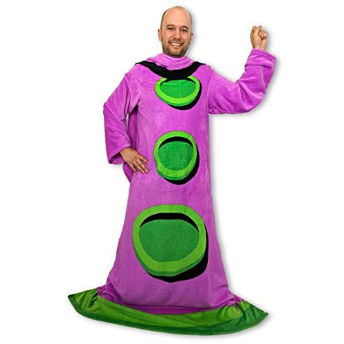 getDigital Purpur Tentakel Ärmeldecke aus Mikrofaser-Fleece - Tragbare Kuscheldecke mit Ärmeln als lustiger Fanartikel zum Retro PC-Spiel Day of the Tentacle - One-Size für Erwachsene 140 x 200 cm (Kerl Nerd Kostüme)