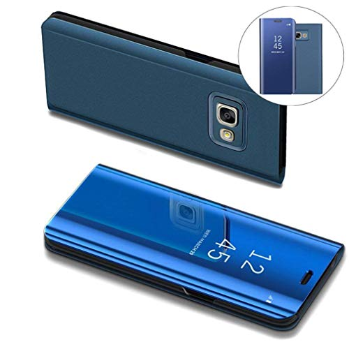 COTDINFOR Samsung J5 Prime Hülle Ledertasche Handyhülle Slim Clear Crystal Spiegel Flip Ständer Etui Hüllen Schutzhüllen für Samsung Galaxy On5 2016 / J5 Prime SM-G570F Mirror PU Blue MX.