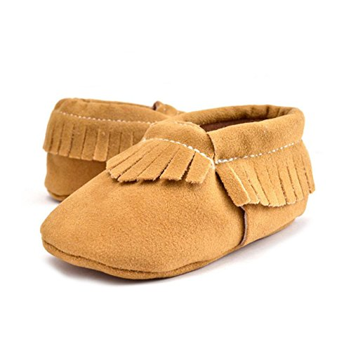 VLUNT Babyschuhe Baby-Krippe Quasten Schuhe Casual Schuhe Lauflernschuhe 0-18 Monate, Ingwer-12cm (Ingwer-schwarz Schuhe)