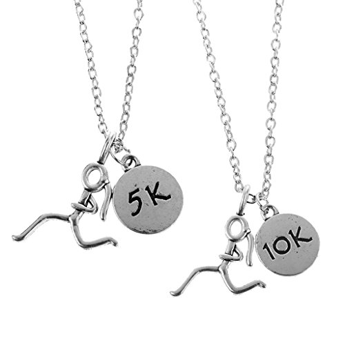 MagiDeal 2 Stk. Marathon Stick Figur hängende Anhänger Halskette Schmuck - Silber - Geschenk