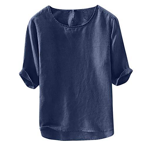 Beonzale Herren Beiläufiges Weiches Baumwollleinen-T-Shirt Der Männer Loses O-Ansatz Oberseiten-Kurzschluss-Hülsen-T-Shirt