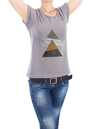 "Design T-Shirt Frauen Earth Positive ""Marble Twin Rectangles"" - stylisches Shirt Geometrie von Paper Pixel Print Grau"