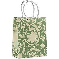 Think Posh Metallic Green/Ivory Flock Gift Bag, Medium