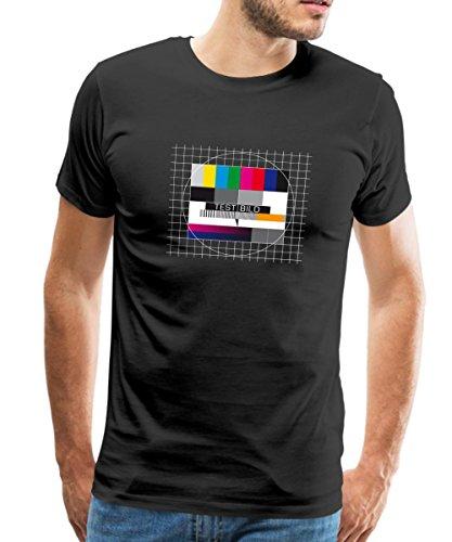 Spreadshirt TV Testbild Fernseher Retro Männer T-Shirt, M, Schwarz