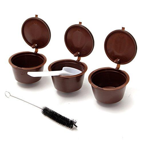 Tutoy 3 Pcak Wieder verwendbare Kaffeekapseln Tasse Pod mit Plastiklöffel und Reinigungsbürste Refill