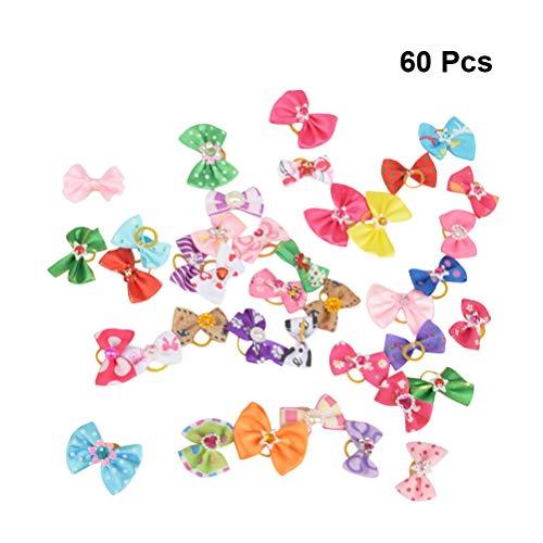 POPETPOP Popopopp Haarschleifen, Gummi, elastisch, Schleife, Kopfbedeckung für Katzen, Hunde, 60 Stück (gemischte Farbe)