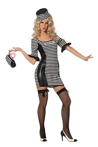 Karneval-Klamotten Sträfling Kostüm Damen sexy Sträfling-Kleid mit Mütze Damen-Kostüm Größe 36