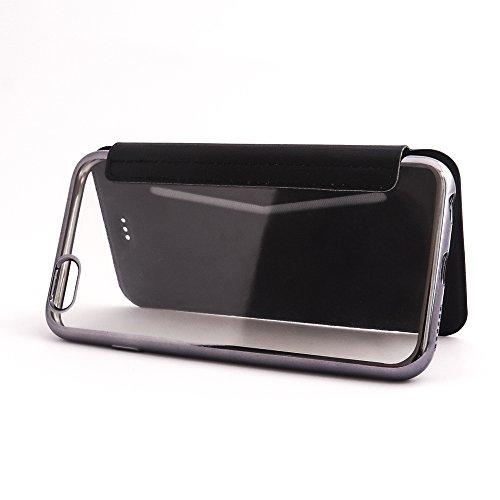VCOMP® Coque de Protection TPU Case Flip Rabat en cuir Avec Fente pour carte Ultra Slim Transparente cover pour Apple iPhone 6/ 6s - NOIR NOIR + stylet