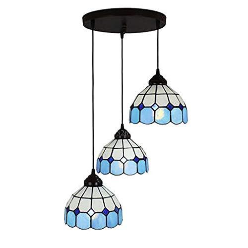 Tiffany Farbe Glas Hand-Stitching Art Kreative Persönlichkeit Drei-Kopf-Kronleuchter For Restaurant Tisch Bar Dekoration 24 Zoll - Tiffany-art-glas-tisch-lampe