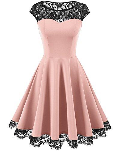 HomRain Damen 1950er Elegant Spitzenkleid Rundhals Knielang festlich Cocktail Abendkleid Pink M -