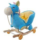 Lvbeis Baby Schaukelpferd Holz Plüsch Rocking Horse Toy mit Rädern Schaukeltier FüR 6 Monate Bis 3 Jahre Alt,Blue