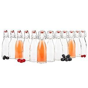 MamboCat 12er Set Bügelflasche 200 ml I Bierpulle rund I klare Glasflaschen zum Befüllen I Most, Saft, Bier, Schnaps, Likör, Essig & Öl I Drahtbügelverschluss