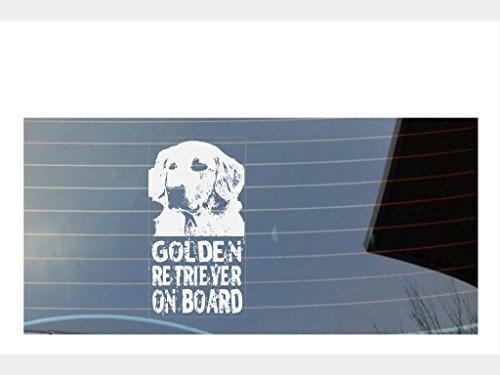 Golden Retriever On Board Auto Fenster Aufkleber–weiß (Retriever Drucken)