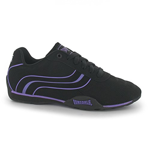 Lonsdale Womens Camden Ladies Trainers Lace Up Casual Sports Shoes Footwear Black/Purple UK 5 (38)