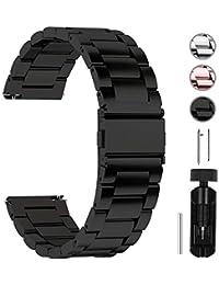 Fullmosa 14mm/16mm/18mm/19mm/20mm/22mm/24mm Bracelets de Montre en Acier Inoxydable, Band/Bracelet Remplacement Dégagement Rapide pour Homme/Femme, 22mm Noir