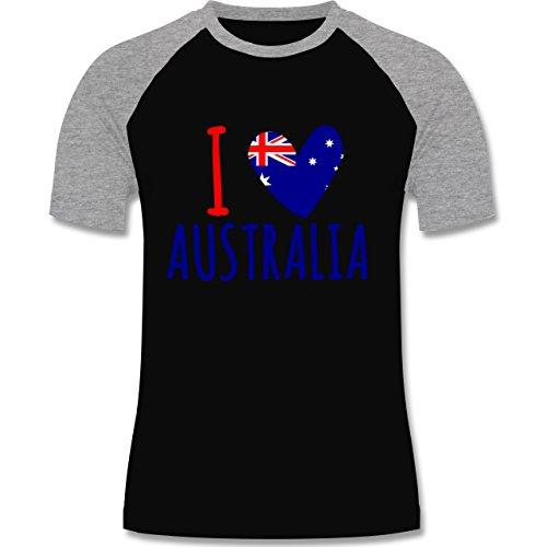 I love - I love Australia - zweifarbiges Baseballshirt für Männer Schwarz/Grau Meliert
