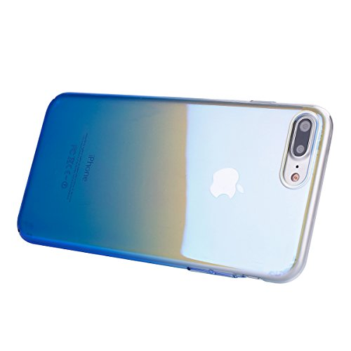 iPhone 8 Plus Cover, iPhone 7 Plus Custodia Case, JAWSEU Apple iPhone 8 Plus 5.5 Custodia Cover Gradiente Colore Riflessivo Ultra Sottile Leggero Custodia Liscio Anti Graffio Anti Scossa Anti Scivolo  Gradiente Blu
