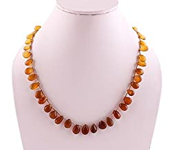 Neerupam Collection 137 Carat Natural Chalcedony multicolour plain drop shape Beads Necklace for Women