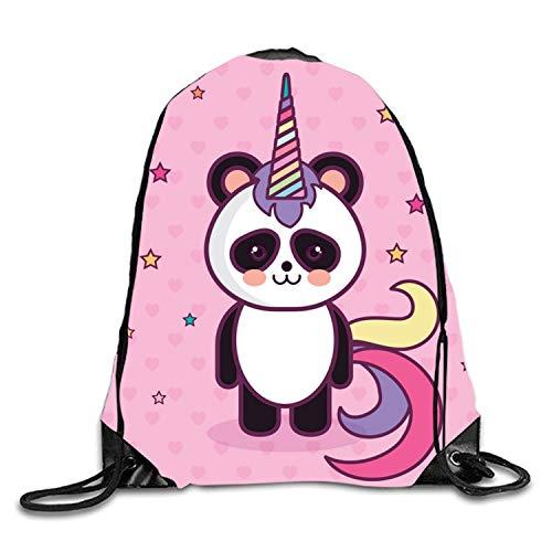 uykjuykj Tunnelzug Rucksäcke, Drawstring Backpack Rucksack Shoulder Bags Gym Bag Travel Backpack Cello Cat pink panda2 Lightweight Unique 17x14 IN