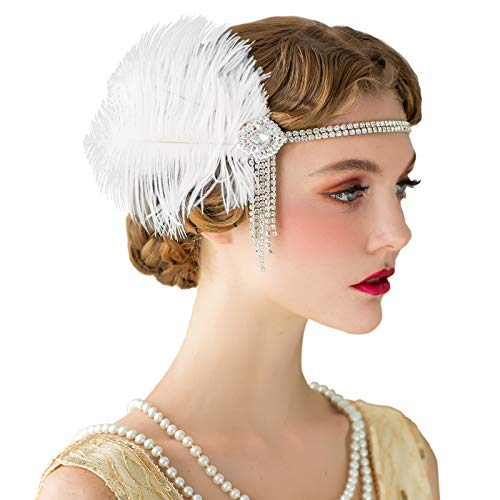 SWEETV Flapper Stirnbänder Womens 1920er Jahre Headpiece Great Gatsby inspiriert Feder Stirnband Cocktail Party Haarschmuck für Damen, Elfenbein