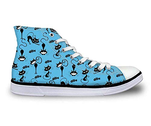 i Tops Plimsolls Women Girls Canvas Sneakers Flat Designs Halloween Blue+Multi cat UK 8 ()