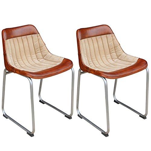 Festnight 2er Set Ergonomisch Esszimmerstühle Essstuhl Echtleder- und Segeltuch-Polsterung Küchenstühle Esszimmer Möbel Stuhl-Set in Vintage-Stil Braun und Beige
