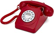 GPO Retro 746 PUSH-RED Button 1970s Style Retro Landline Telephone with Curly Cord and Authentic Bell Ring - R