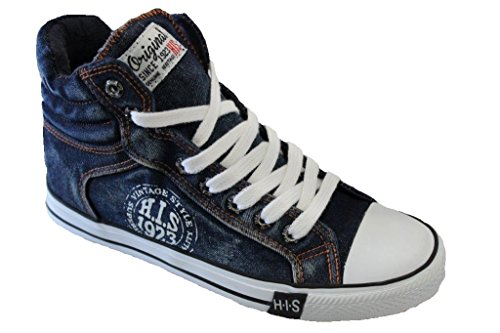 HIS - 151-007, Sneaker basse Uomo Washed Navy Jeans