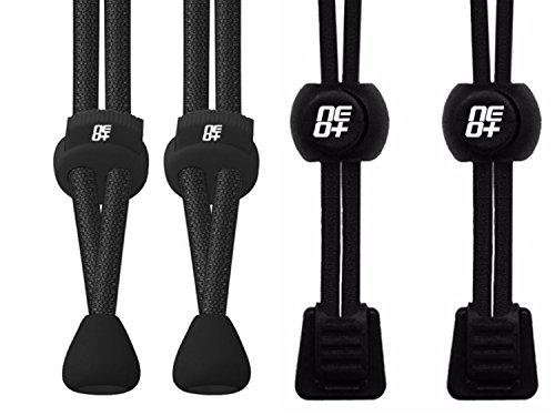 Confezioni di elastico serratura rotonda lacci per corsa e Triathlon–venditore UK 2 SETS: BLACK I, BLACK II