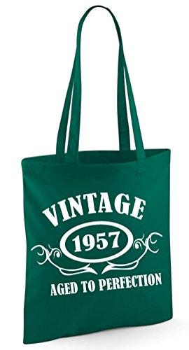 Vintage 1956Aged To Perfection 60. Geburtstag Geschenk Tasche–Edward Sinclair Schultertasche flaschengrün