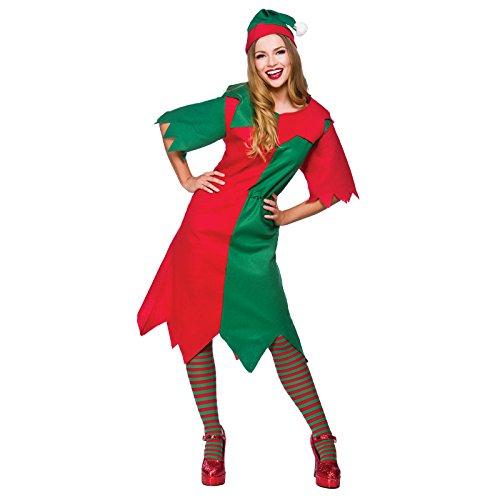 LADIES BUDGET ELF CHRISTMAS FANCY DRESS COSTUME (Womens Christmas Fancy Dress Kostüm)