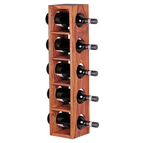 FineBuy Weinregal Massiv-Holz Sheesham Flaschen-Regal Wandmontage für 5 Flaschen Holzregal modern...