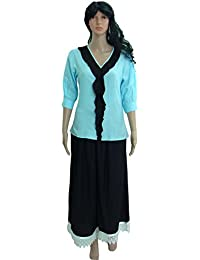 Crop Top And Palazzo Ethnic Suits Set For Women – Half Sleeve, Front Flap, V-Neck Light Blue Top And Black Palazzo...