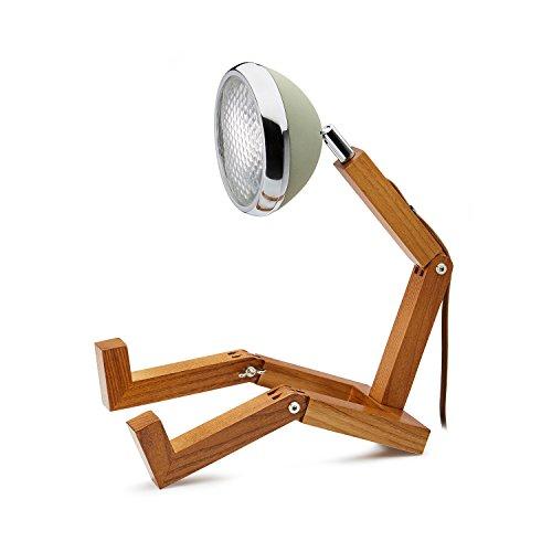 Mr. wattson, la flessibile lampada da tavolo in legno di frassino in wuestengruen–in alluminio con lampadine led