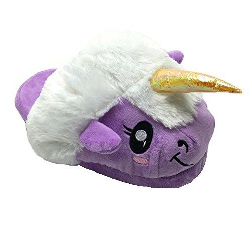 Süßes Unicorn Tier Entwurf Plüsch Einhorn Hausschuhe Pantoffel Lila