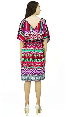 Phagun Chevron Caftan Polyester Caftan Bohème Robe De Nuit Longue Maxi Multicolore