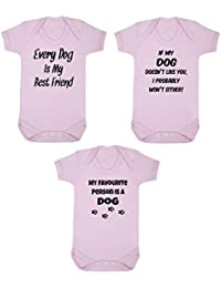 Click My Clobber Pack of 3 Bodysuits, Baby, Funny Dog Lover Gift Set
