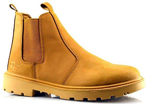 Grafters Marque pour homme en acier de sécurité en cuir Chelsea Slip on revendeur Cheville Bottes de travail Chaussures Taille 6–14 miel