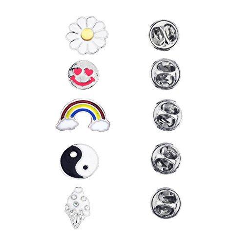 LUX accesorios plateado novedad Emoji Yin Yang arco iris broche Pin Set (5piezas)
