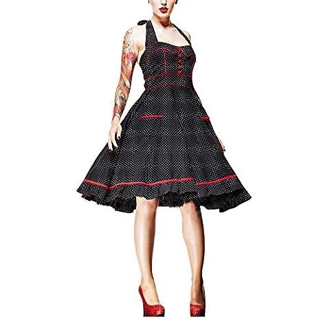 Hell Bunny - Rockabilly Kleid Vanity Dress Polka Dot schwarz/rot (L)
