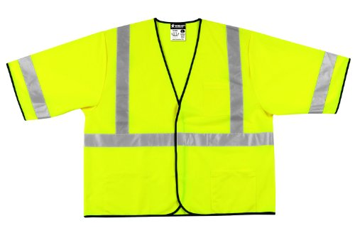 Mcr Safety VCL3SLX4Class 3Polyester Solid Economy Safety Vest con 5,1cm argento riflettente Stripe, Fluorescent lime, 4x -large by Mcr Safety