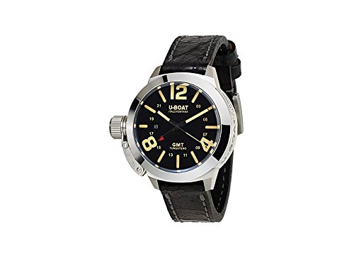 U-Boat Classico Automatic Watch, Tungsten, GMT, Black, 45mm, 8050