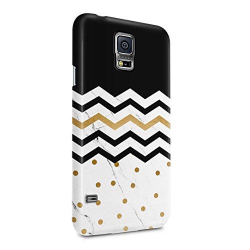 White Marble Stone & Black Chevron Zig Zags Dünne Rückschale aus Hartplastik für Samsung Galaxy S5 Mini Handy Hülle Schutzhülle Slim Fit Case cover