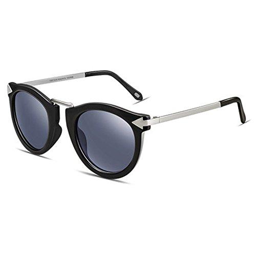 Damenmode Sonnenbrille Damen UV-Schutz Gläser runden Gesicht dünne Brille,B