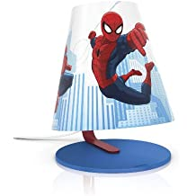 Philips Marvel Spiderman - Lámpara de mesa infantil, LED, luz blanca cálida, bombilla de 3 W, color azul